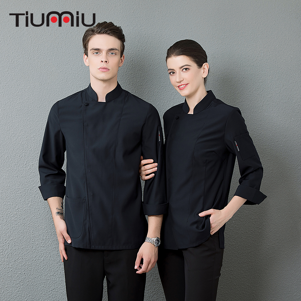 Black White Men's Professional Work Uniforms Chef Kitchen Cook Clothing Long Sleeve Catering Baker Waiter Barber Overalls Jacket