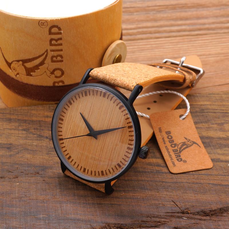 Prix pour Nouveau Luxe En Bois Cadran Hommes Montres Bracelet en cuir de Liège avec Bois cadeaux boîte unique bois montre pour cadeau de mode bobo bird marque