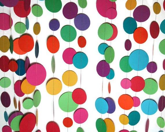 Vibrant Fiesta Decor Cinco De Mayo Photo Backdrop Birthday Party Paper Circle Garland Rich Rainbow Colors