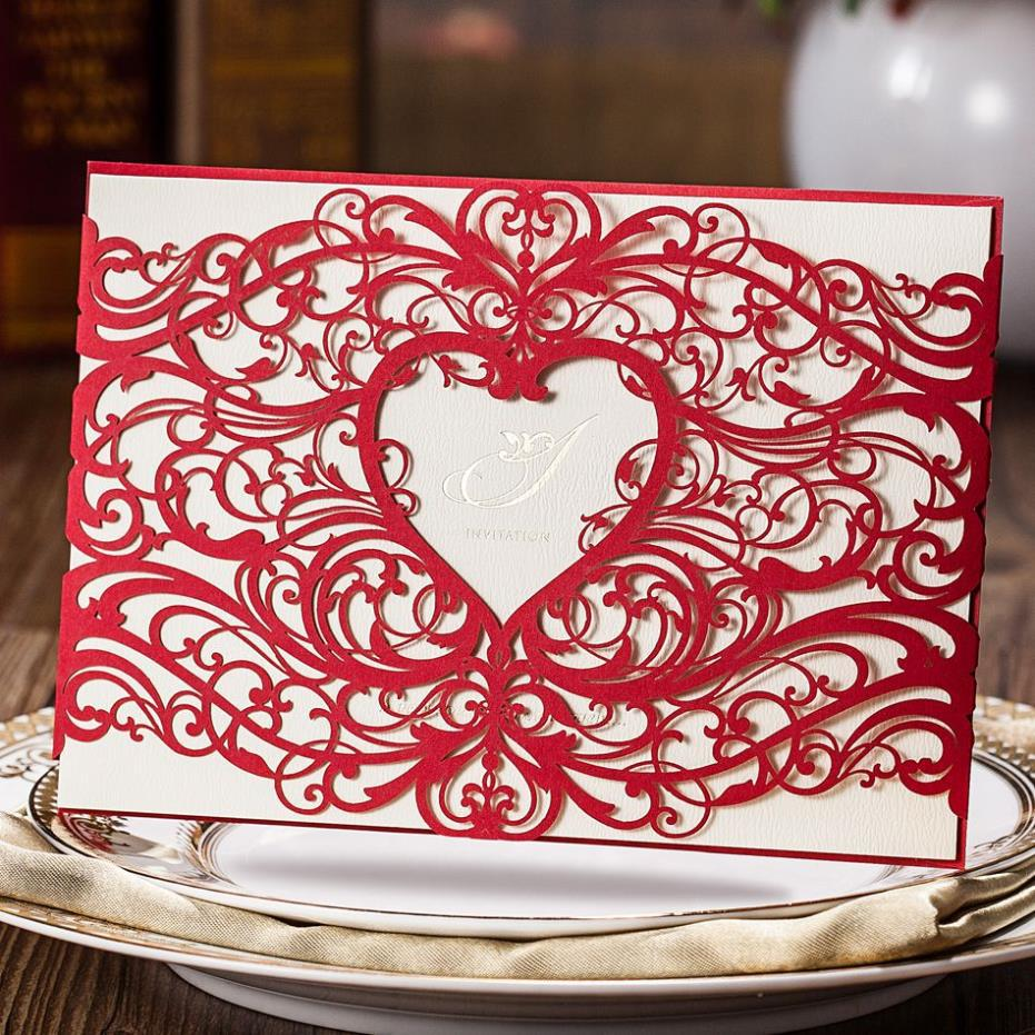 1 Sample Wedding Invitation Luxury Red Cut out Heart Shape Cards ...