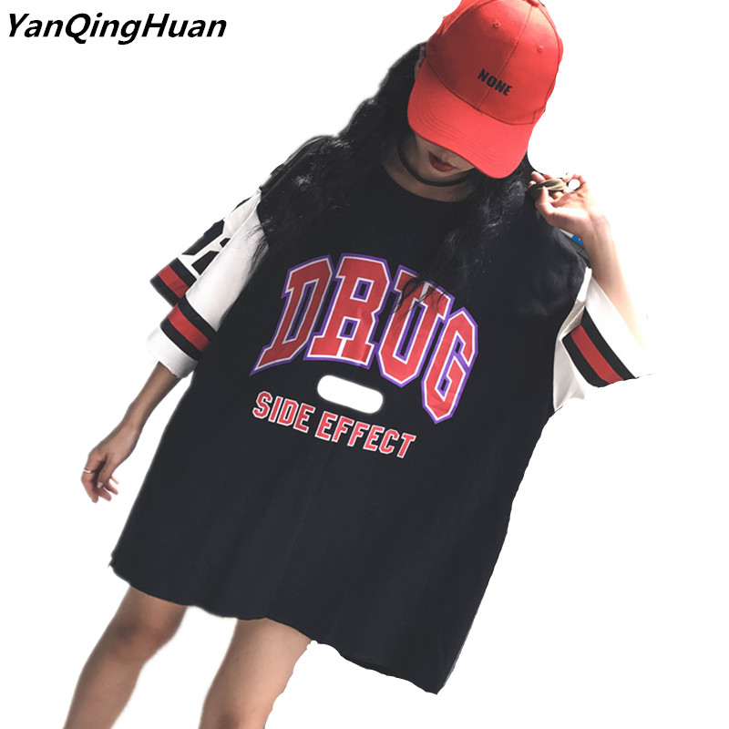 2018 New Summer Fashion Letters Print Harajuku Bf Wind Women's T-shirt Short-sleeved Long Paragraph Loose Street Trend T-shirt