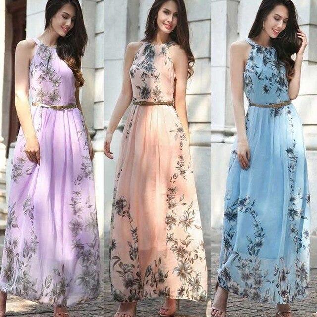 Uguest Plus Size Chiffon Loose Dress Halter Sleeveless Floor-length Floral Vintage Summer Dresses Vacation Holiday Beach Elegant