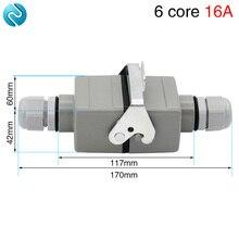 Rectangular heavy duty connector 6 core butt type He-06 waterproof socket for aerospace industry 16A