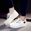 New Fashion Platform Women's Flats Shoes Woman Female Lace-Up Round Toe Canvas Rubber Sole White Superstar Casual Shoes QX-2809