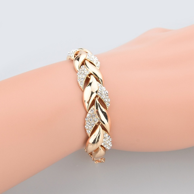 TOUCHEART Braided Gold color Leaf Bracelets & Bangles With Stones Luxury Crystal Bracelets For Women Wedding Jewelry Sbr140296 5