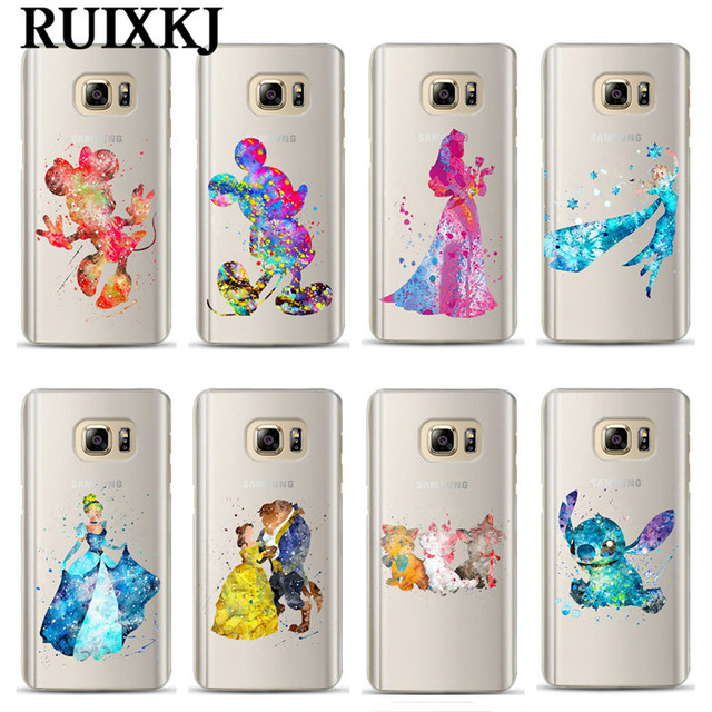 the best attitude e8a6e bd2ca US $1.61 29% OFF|Watercolor Art Snow White Mermaid Phone Case For Coque  Samsung Galaxy S7 Edge S8 S9 Plus J3 J5 J7 2016 2017 Mickey Minnie Cover-in  ...