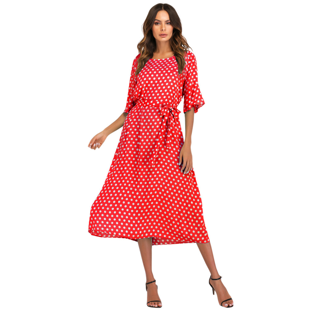 2019 New Vintage Polka Dot Printed Dress O Neck Tie Waist Flare Half Sleeve Boho Casual Loose Long Dresses Vestido Plus Size