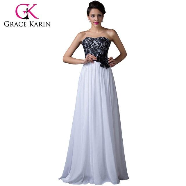 58ceed47f6 Grace karin 2017 vestido de noche blanco y negro de encaje de gasa largo  vestidos de