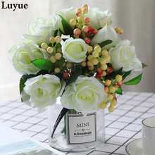Rose Wedding Bouquet 9 Head Roses Lifelike Artificial Flowers Vase Decoration Fake Flower Accessories
