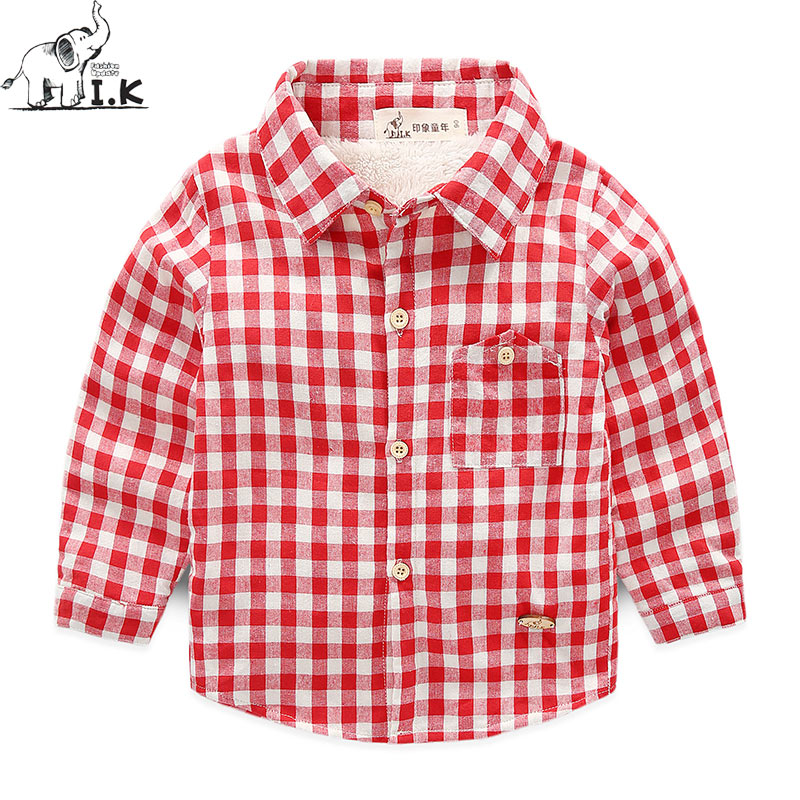 I.K Winter new arrival warm boys fleece shirts kids plaid shirts children clothing thick long sleeve top CC24038