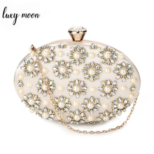 Exquisite Beaded Evening Bag For Women Day Clutches Elegant Pearl Rhinestones Party Holder Special Egg Shape Ladies Purse ZD1034