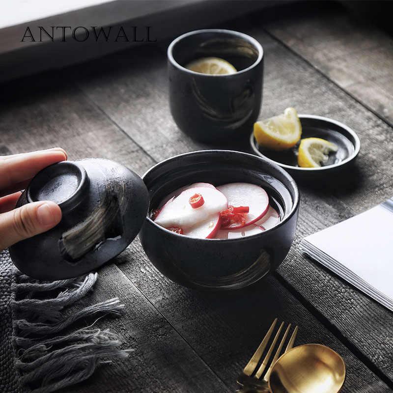ANTOWALL Japanse stijl keramische retro handgeschilderde kom gestoofd vogelnest dessert gestoomde ei stoofpot soep kom met deksel terrine