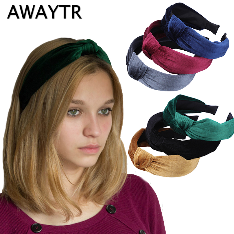 AWAYTR 2019 Winter Velvet Knotted Headband for Women Vintage Fashion Hair Band Hair Accessories for Girls   Headwear   Hairband