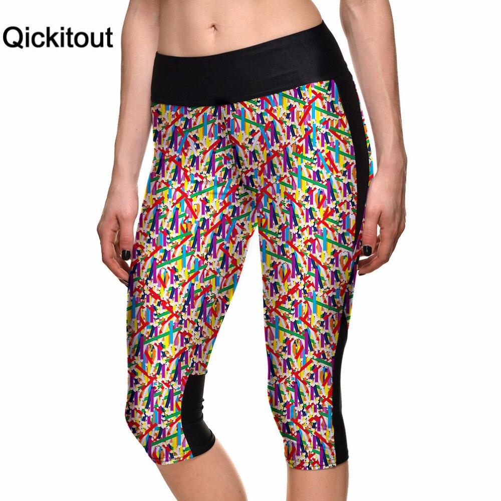Qickitout   Capri     Pants   2016 New Sexy Women's 7 Point   Pants   Irregular Teeth Digital Print Women High Waist Side Pocket Phone   Pants