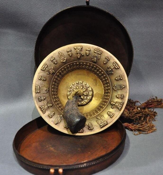 Noël vieux Tibet bouddhisme doré Bronze 8 trésor prier prière hochets prier cloches ensemble halloween