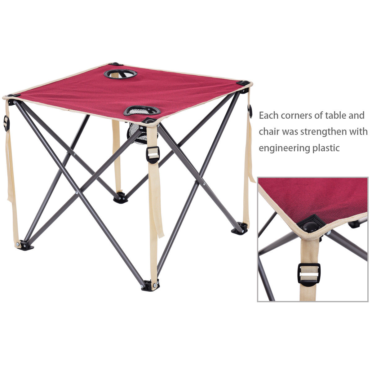 Bon Giantex Portable Outdoor Furniture Set Table 4 Chairs Set Garden Camp Beach  Picnic Folding Table Set With Carrying Bag OP3381RE In Garden Sets From ...
