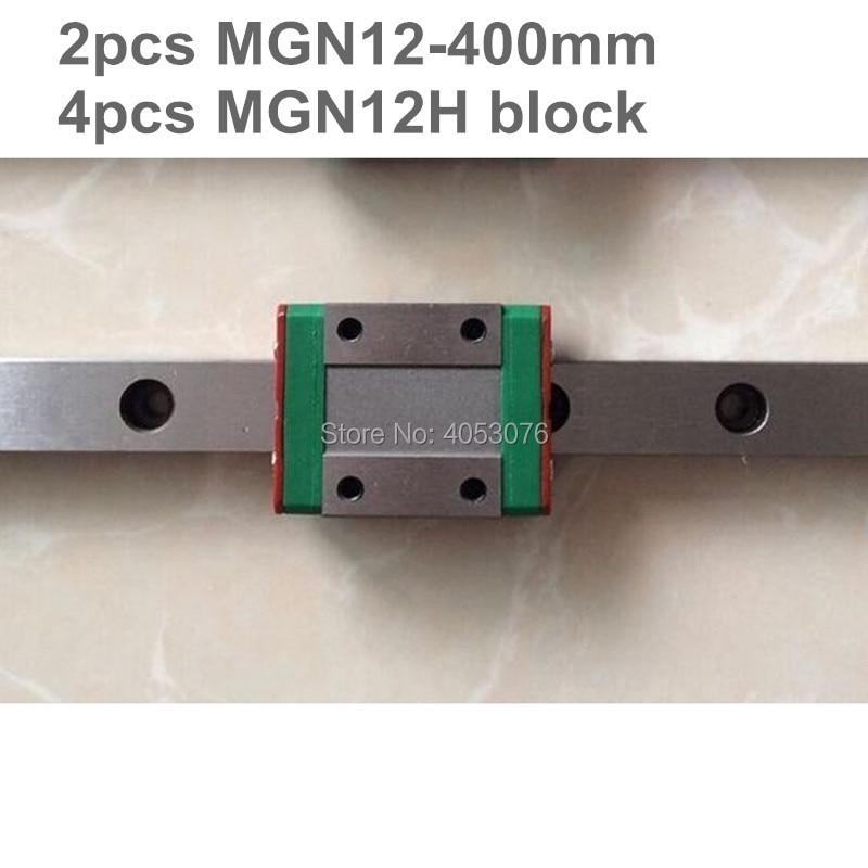 Linear guide MGN12 miniature linear rail slide 2pcs MGN12- 400mm linear rail guide +4pcs MGN12H carriage for cnc partsLinear guide MGN12 miniature linear rail slide 2pcs MGN12- 400mm linear rail guide +4pcs MGN12H carriage for cnc parts