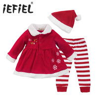 2017 Newest Baby Santa Dress Girls Christmas Snowflake Long Sleeve Dress Tops Striped Pants Hat Set
