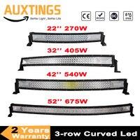 3 Row 22 32 42 52 Curved LED Light Bar Offroad Led Bar Combo Beam Led Work Light Bar 12v 24v For 4x4 4WD SUV ATV Cars