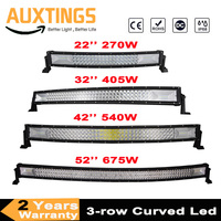 3 Row 22 32 42 52 Curved LED Light Bar Offroad Led Bar Combo Beam Led Work Light Bar 12v 24v For 4x4 4WD SUV ATV Cars