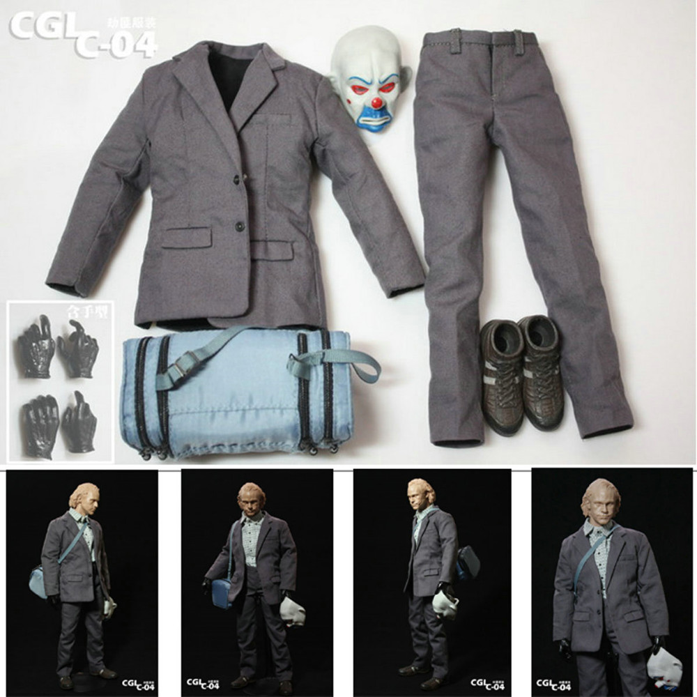 Custom 1 6 Scale Joker Robber Suit Outfit With Mask and Hands For Hot Toys Body