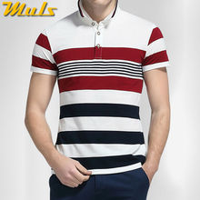 Striped men polo shirts high quality quick dry pure cotton short polo men top tees White Green M-4XL Muls brand clothing 6820