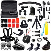 Accessories Kit set for Gopro Hero 5 Yi 4K Camera Chest Head Mount Strap Selfie stick Float accessories for Go Pro SJCAM SJ4000(China)