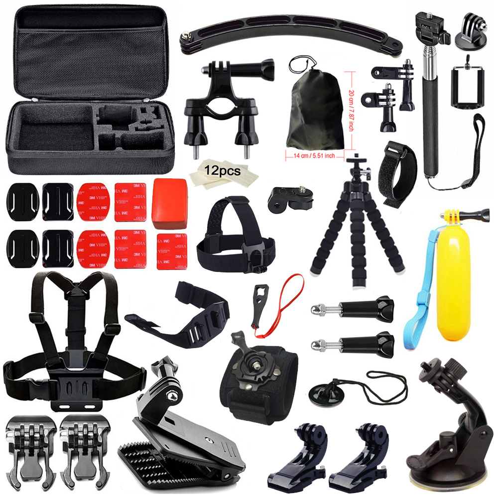 Accessories Kit set for Gopro Hero 5 Yi 4K Camera Chest Head Mount Strap Selfie stick