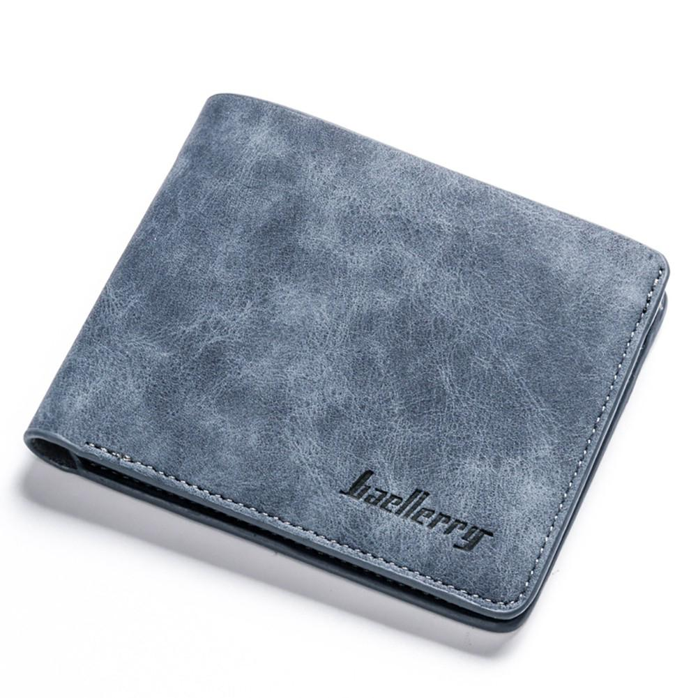 Men Wallets Retro Frosted PU Wallet Two Folding Male Purse Credit Card Holder Solid Color Short men Coin bag Casual Clutch