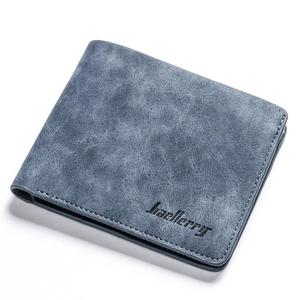 Men Wallets Retro Frosted PU Wallet Two Folding Male Purse Credit Card Holder Solid Color Short men Coin bag Casual Clutch(China)