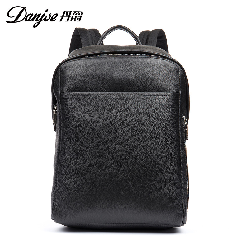 DANJUE Men Genuine Leather Backpack Black Color Business Laptop Bag School Bag Student High Quality Real Leather Travel Backpack