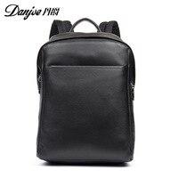DANJUE Men Genuine Leather Backpack Black Color Business Laptop Bag School Bag Student High Quality Real Leather Travel Backpack