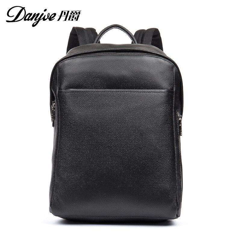 DANJUE hommes sac à dos en cuir véritable noir couleur sacoche pour ordinateur portable professionnel sac d'école étudiant de haute qualité en cuir véritable sac à dos de voyage