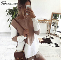 Hirsionsan Autumn Patchwork Sweater Women 2017 Knitted Women Sweaters And Pullovers Loose Jumper Hollow Out Split