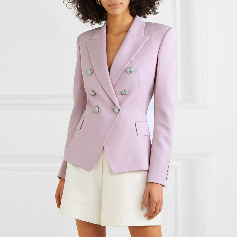 HIGH QUALITY Newest Fashion 2019 Designer Blazer Women's Double Breasted Metal Lion Buttons Thick Slim Fitting Blazer Jacket