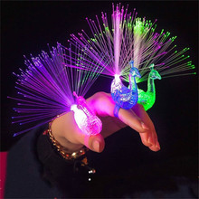 Creative Peacock LED Finger Ring Lights Beams Party Nightclub Colour Rings Optical Fiber Lamp Kids Children Gifts Party Supplies