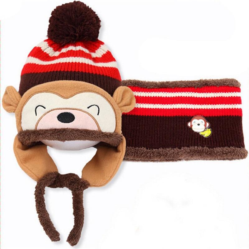 Scarf, Hat & Glove Sets Friendly 1pc Winter Ear Flap Warm Hat Bebe Hat With Scarf Beanie Cap Monkey Kids Winter Cap Children Fashion Headwear For Boys Girls