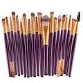 20 Unids Púrpura Cepillos Del Maquillaje Pro Powder Blush Fundación Sombra de Ojos Delineador de Labios Kit de Cepillo Cosmético Herramientas de Belleza