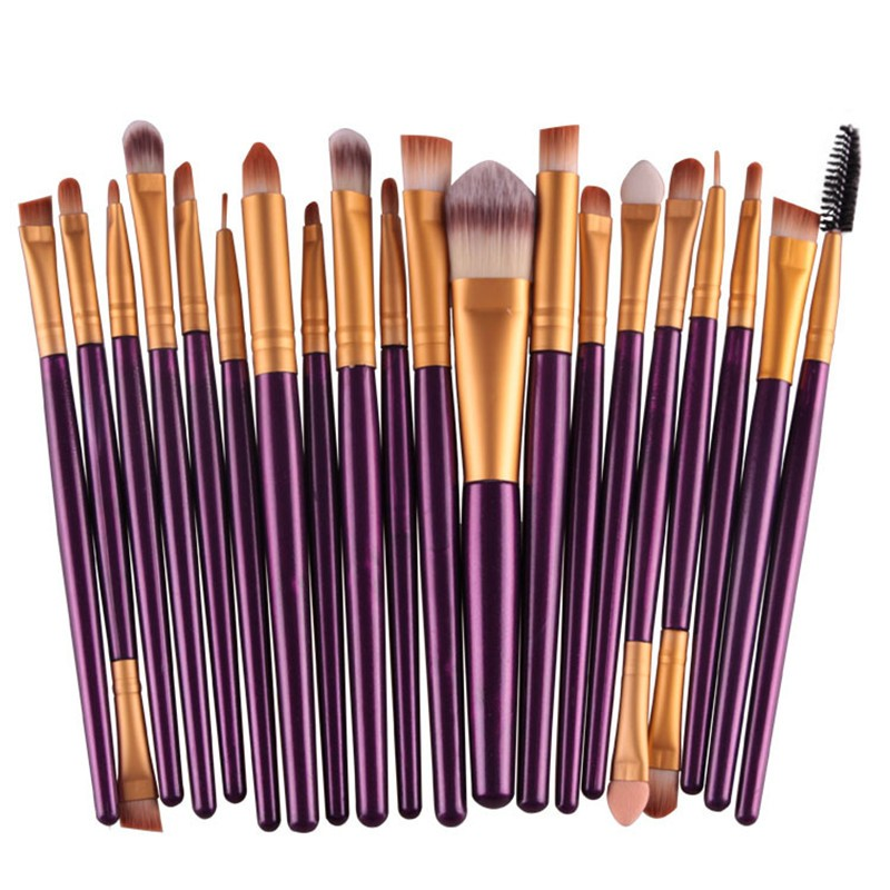 20Pcs Purple Makeup Brushes Set Pro Powder Blush Foundation Eyeshadow Eyeliner Lip Cosmetic Brush Kit Beauty Tools 20pcs gold makeup brushes set powder blush foundation eyeshadow eyeliner lip cosmetic brush kit beauty tools brochas maquillaje