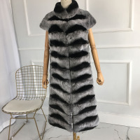 Nature Chinchilla Rex Rabbit Furs Fashion Winter Lady X long rex rabbit vest warm for winter with stand collar