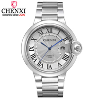 Fashion CHENXI Brand Classic Design Date Day Display Clocks Man Full Stainless Steel Wrist Watch Mens