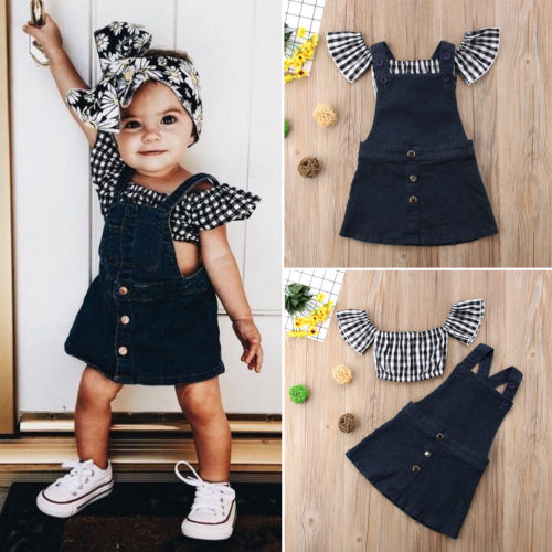 2pcs Toddler Kids Baby Girls T-Shirt Tops+Knee Patch Pants Leggings Outfits Set