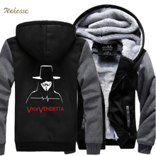 V for Vendetta Men's Hoodie Sweatshirt Jackets Men 2018 Winter Fleece Zipper Sweatshirts Thick Hoodies Black Hoodie Coat Male недорого