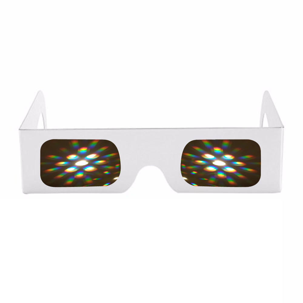 20x Dance Party 3d Raves Prisms 13500 Lines/spirals Rainbow Effect Firework Light Laser 3d Diffraction Glasses Pure White Frame Bracing Up The Whole System And Strengthening It