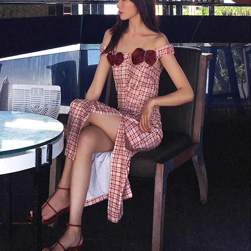 Летнее женское платье 2019, сексуальное элегантное облегающее винтажное длинное платье с открытой спиной, в клетку, с открытыми плечами, Повседневные Вечерние платья с розой