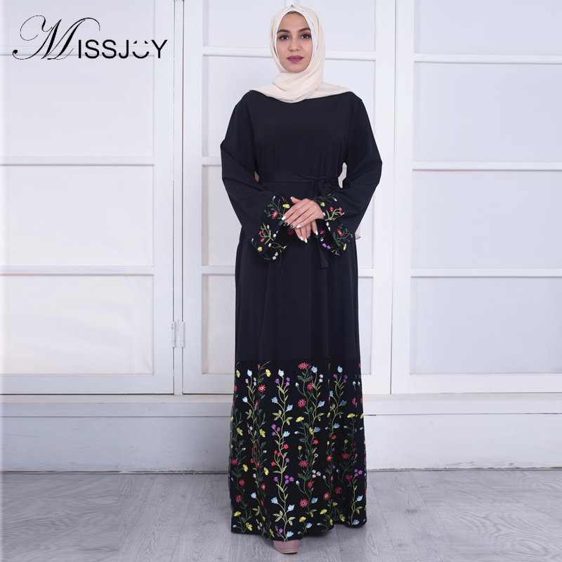 MISSJOY New Arab Abaya Maxi Dresses Muslim Women Caftan Fashion Flare Sleeve Flower Embroidery Lace Bangladesh Islamic Clothing