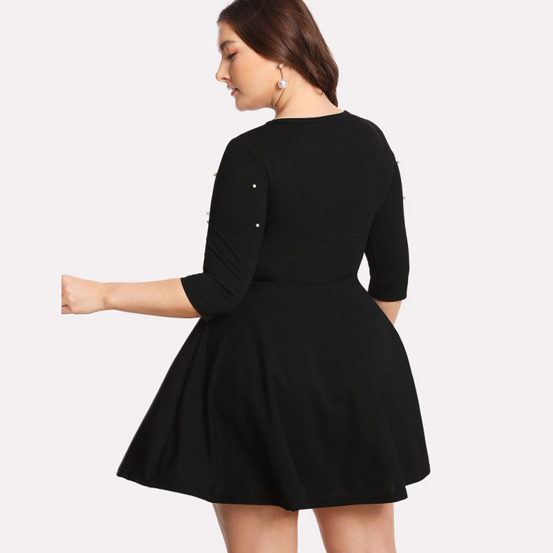Black Round Neck Spring Dress Plus Size