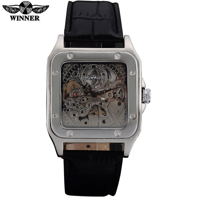 WINNER fashion men mechanical watches leather strap silver case new casual brand analog automatic wristwatches relogio masculino