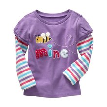 Fashion Spring Cotton Kids Girls T Shirt Soft Long Sleeve Printed Shirts Infant Baby Blouse Tees