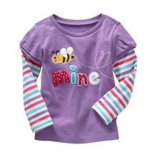 Fashion Spring Cotton Kids Girls T Shirt Soft Long Sleeve Printed Shirts Infant Baby Blouse Tees T-shirt 0-6T
